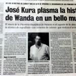 Wycinek prasowy z El Territorio (1/2/2009) o Jose Kura, twórcy polskich murali w Wandzie.