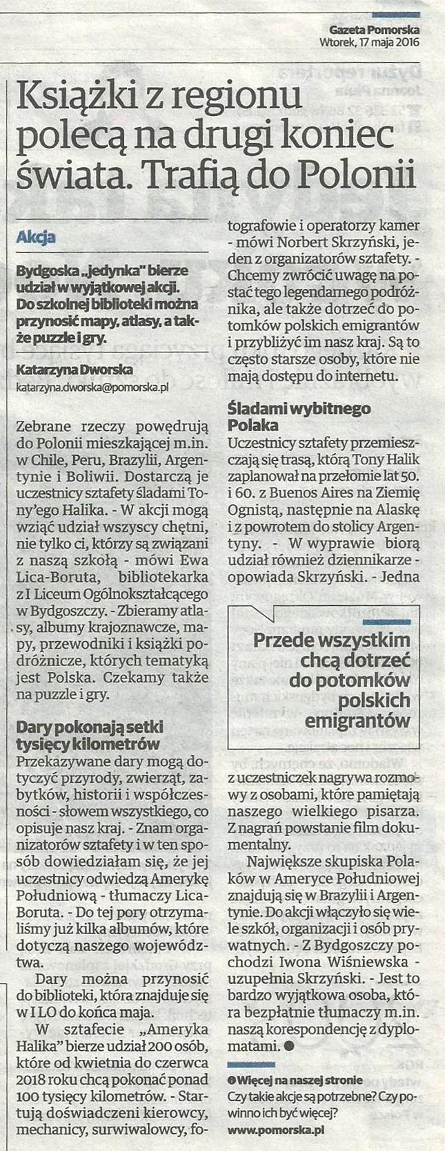 Gazeta Pomorska, 17 maja 2016 r.